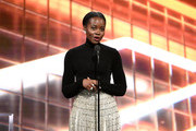 Lupita Nyong'o speaks onstage during the 2019 British Academy Britannia Awards presented by American Airlines and Jaguar Land Rover at The Beverly Hilton Hotel on October 25, 2019 in Beverly Hills, California.