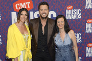 Caroline Boyer, Luke Bryan, and Leslie Fram attend the 2019 CMT Music Awards at Bridgestone Arena on June 05, 2019 in Nashville, Tennessee.