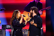 Karen Fairchild of musical group Liittle Big Town and Thomas Rhett perform at the 2019 CMT Music Awards at Bridgestone Arena on June 05, 2019 in Nashville, Tennessee.