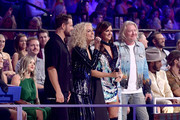(L-R) Jimi Westbrook, Kimberly Schlapman, Karen Fairchild and Philip Sweet of Little Big Town host the 2019 CMT Music Awards at Bridgestone Arena on June 05, 2019 in Nashville, Tennessee.