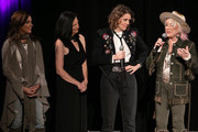 (L-R) Martina McBride, Leslie Fram, Tanya Tucker and Brandi Carlile seen onstage during the 2019 CMT Next Women Of Country at CMA Theater at the Country Music Hall of Fame and Museum on November 12, 2019 in Nashville, Tennessee.