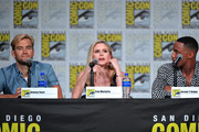 Anthony Starr, Erin Moriarty, and Jessie T. Usher speak at 'The Boys' Panel during 2019 Comic-Con International at San Diego Convention Center on July 19, 2019 in San Diego, California.