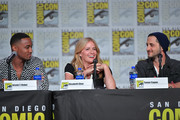Jessie T. Usher, Elisabeth Shue, and Tomer Capon speak at 'The Boys' Panel during 2019 Comic-Con International at San Diego Convention Center on July 19, 2019 in San Diego, California.