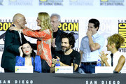 "Patrick Stewart, Jeri Ryan, Brent Spiner, Isa Briones, Santiago Cabrera, Jonathan Del Arco, and Michelle Hurd speak at the ""Enter The Star Trek Universe"" Panel during 2019 Comic-Con International at San Diego Convention Center on July 20, 2019 in San Diego, California."