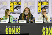 (L-R) Gale Anne Hurd, Greg Nicotero and Michael Satrazemis speak at the 'Fear The Walking Dead' Panel during 2019 Comic-Con International at San Diego Convention Center on July 19, 2019 in San Diego, California.