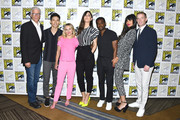 (L-R) Ted Danson, Manny Jacinto, Kristen Bell, D'Arcy Carden, William Jackson Harper, Jameela Jamil and Marc Evan Jackson at the 2019 Comic-Con International - 'The Good Place' Photo Call at Hilton Bayfront on July 20, 2019 in San Diego, California.
