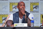 Mehcad Brooks speaks at the 'Supergirl' Special Video Presentation and Q&A during 2019 Comic-Con International at San Diego Convention Center on July 20, 2019 in San Diego, California.