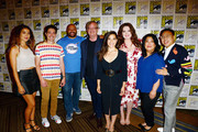 The cast of Superstore attends their press line at Hilton Bayfront on July 18, 2019 in San Diego, California.