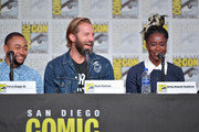 Percy Daggs III, Ryan Hansen and Kirby Howell-Baptiste speak at the World Premiere: Hulu's 'Veronica Mars' Revival panel during 2019 Comic-Con International at San Diego Convention Center on July 19, 2019 in San Diego, California.