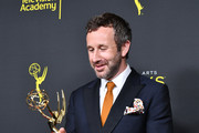 Chris O'Dowd poses with the Outstanding Short Form Comedy or Drama Series Award for 'State of the Union' in the press room during the 2019 Creative Arts Emmy Awards on September 15, 2019 in Los Angeles, California.