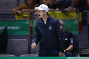 Andy Murray of Great Britain reacts as he watches Kyle Edmund of Great Britain play in his semi final singles match against Feliciano Lopez of Spain during Day 6 of the 2019 Davis Cup at La Caja Magica on November 23, 2019 in Madrid, Spain.