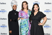Halima Aden, Ashley Graham and Amanda Nguyen attends the 2019 Forbes Women's Summit at Pier 60 on June 18, 2019 in New York City.