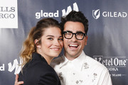 Dan Levy (R) and Annie Murphy arrive at the 2019 GLAAD Gala at the Hyatt Regency in San Francisco on September 28, 2019 in San Francisco, California.