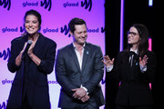 (L-R) Annie Murphy, Noah Reid and Emily Hampshire on stage at the 2019 GLAAD Gala at Hyatt Regency in San Francisco on September 28, 2019 in San Francisco, California.