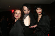 Retransmission with alternate crop.)  Thora Birch, Lindsay Usich and Marilyn Manson attend The Walking Dead Premiere and Party on September 23, 2019 in West Hollywood, California.