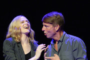 """(L-R) Evan Rachel Wood and Jack McBrayer speak onstage during the """"Drunk History"""" Live Reading Event at The Montalban on August 15, 2019 in Hollywood, California."""