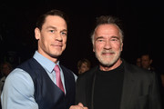 (L-R) John Cena and Arnold Schwarzenegger at CinemaCon 2019- Paramount Pictures Invites You to an Exclusive Presentation Highlighting Its Upcoming Slate at The Colosseum at Caesars Palace during CinemaCon, the official convention of the National Association of Theatre Owners, on April 4, 2019 in Las Vegas, Nevada.