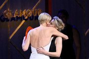 Charlize Theron and Kate McKinnon speaks onstage at the 2019 Glamour Women Of The Year Awards at Alice Tully Hall on November 11, 2019 in New York City.
