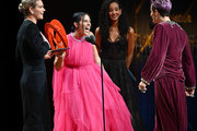 Ali Krieger speaks onstage alongside Ashlyn Harris and Megan Rapinoe at the 2019 Glamour Women Of The Year Awards at Alice Tully Hall on November 11, 2019 in New York City.