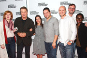 """(L-R) Susan Norget, Alec Baldwin, Waad al-Kateab, Hamza Al Kateab, Edward Watts, David Nugent and Erika Howard attend Conflict and Resolution Screening - """"For Sama"""" during the 2019 Hamptons International Film Festival on October 13, 2019 in East Hampton, New York. (Photo by Astrid Stawiarz/Getty Images for Hamptons International Film Festival) Susan Norget Erika Howard"""