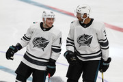 Cam Atkinson #13 and Seth Jones #3 of the Columbus Blue Jackets react to a goal during the 2019 Honda NHL All-Star Game at SAP Center on January 26, 2019 in San Jose, California.