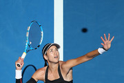 Garbine Muguruza of Spain serves to Angelique Kerber of Germany during day two of the 2019 Hopman Cup at RAC Arena on December 30, 2018 in Perth, Australia.