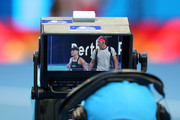 Angelique Kerber and Alexander Zverev of Germany are seen in tv camera monitor while walking onto the court during day two of the 2019 Hopman Cup at RAC Arena on December 30, 2018 in Perth, Australia.