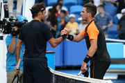 Roger Federer of Switzerland and Cameron Norrie of Great Britain shake hands following their singles match during day two of the 2019 Hopman Cup at RAC Arena on December 30, 2018 in Perth, Australia.