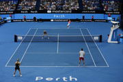 A general view of play in the mixed doubles match between  Garbine Muguruza and David Ferrer of Spain and  Angelique Kerber and Alexander Zverev of Germany during day two of the 2019 Hopman Cup at RAC Arena on December 30, 2018 in Perth, Australia.