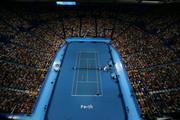 A general view of play in the mixed doubles match between  Belinda Bencic and Roger Federer of Switzerland and Serena Williams and Frances Tiafoe of the United States during day four of the 2019 Hopman Cup at Perth Arena on January 01, 2019 in Perth, Australia.