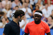 Frances Tiafoe of the United States congratulates Roger Federer of Switzerland  after the mens singles match during day four of the 2019 Hopman Cup at Perth Arena on January 01, 2019 in Perth, Australia.
