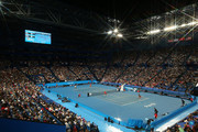 A special effects camera filter was used for this image.) A general view of play is seen during the mixed doubles match between Roger Federer and Belinda Bencic of Switzerland and Stefanos Tsitsipas and Maria Sakkari of Greece during day six of the 2019 Hopman Cup at RAC Arena on January 03, 2019 in Perth, Australia.