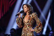 Sarah McLachlan speaks before presenting Corey Hart with an award for his induction into the Canadian Music Hall of Fame during the 2019 Juno Awards at Budweiser Gardens on March 17, 2019 in London, Canada.
