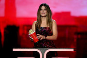 Sandra Bullock accepts the Most Frightened Performance award for 'Bird Box' onstage during the 2019 MTV Movie and TV Awards at Barker Hangar on June 15, 2019 in Santa Monica, California.