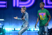 (L-R) Jada Pinkett Smith accepts the MTV Trailblazer Award with Jaden Smith onstage during the 2019 MTV Movie and TV Awards at Barker Hangar on June 15, 2019 in Santa Monica, California.