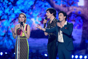 (L-R) Kiernan Shipka, Ross Lynch and Gavin Leatherwood speak onstage during the 2019 MTV Movie and TV Awards at Barker Hangar on June 15, 2019 in Santa Monica, California.