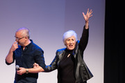 Harry Mavromichalis and Olympia Dukakis speak at the 2019 Montclair Film Festival on May 4, 2019 in Montclair, New Jersey.