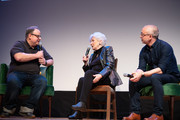 Tom Hall, Olympia Dukakis and Harry Mavromichalis speak at the 2019 Montclair Film Festival on May 4, 2019 in Montclair, New Jersey.