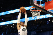 Russell Westbrook #0 of the Oklahoma City Thunder and Team Giannis dunks against Team LeBron in the fourth quarter during the NBA All-Star game as part of the 2019 NBA All-Star Weekend at Spectrum Center on February 17, 2019 in Charlotte, North Carolina. Team LeBron won 178-164. NOTE TO USER: User expressly acknowledges and agrees that, by downloading and/or using this photograph, user is consenting to the terms and conditions of the Getty Images License Agreement.