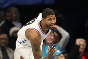 Paul George #13 of the Oklahoma City Thunder and Team Giannis celebrates a shot against Team LeBron in the second quarter during the NBA All-Star game as part of the 2019 NBA All-Star Weekend at Spectrum Center on February 17, 2019 in Charlotte, North Carolina.  NOTE TO USER: User expressly acknowledges and agrees that, by downloading and/or using this photograph, user is consenting to the terms and conditions of the Getty Images License Agreement. Mandatory Copyright Notice: Copyright 2019 NBAE