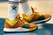 A detail view of Paul George #13 of the Oklahoma City Thunder and Team Giannis shoes during the NBA All-Star game as part of the 2019 NBA All-Star Weekend at Spectrum Center on February 17, 2019 in Charlotte, North Carolina.  NOTE TO USER: User expressly acknowledges and agrees that, by downloading and/or using this photograph, user is consenting to the terms and conditions of the Getty Images License Agreement.