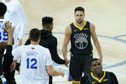 Klay Thompson #11 of the Golden State Warriors reacts against the Toronto Raptors in the second half during Game Six of the 2019 NBA Finals at ORACLE Arena on June 13, 2019 in Oakland, California. NOTE TO USER: User expressly acknowledges and agrees that, by downloading and or using this photograph, User is consenting to the terms and conditions of the Getty Images License Agreement.