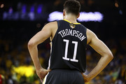 Klay Thompson #11 of the Golden State Warriors reacts in the first half against the Toronto Raptors during Game Six of the 2019 NBA Finals at ORACLE Arena on June 13, 2019 in Oakland, California. NOTE TO USER: User expressly acknowledges and agrees that, by downloading and or using this photograph, User is consenting to the terms and conditions of the Getty Images License Agreement.