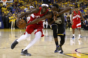 Pascal Siakam #43 of the Toronto Raptors is defended by Draymond Green #23 of the Golden State Warriors in the second half during Game Six of the 2019 NBA Finals at ORACLE Arena on June 13, 2019 in Oakland, California. NOTE TO USER: User expressly acknowledges and agrees that, by downloading and or using this photograph, User is consenting to the terms and conditions of the Getty Images License Agreement.