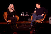 Patti Smith and David Remnick speak on stage during the 2019 New Yorker Festival on October 11, 2019 in New York City.