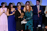 Kerry Kennedy and J.K. Rowling onstage at the 2019 RFK Ripple of Hope Awards at New York Hilton Midtown on December 12, 2019 in New York City.