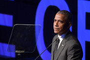 Former President Barack Obama speaks onstage during the 2019 Robert F. Kennedy Human Rights Ripple Of Hope Awards on December 12, 2018 in New York City.