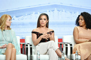 "Marg Helgenberger, Jessica Camacho and Simone Missick, of ""All Rise"" speak during the CBS segment of the 2019 Summer TCA Press Tour at The Beverly Hilton Hotel on August 1, 2019 in Beverly Hills, California."