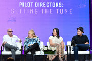 (L-R) Marcos Siega, Julie Plec, Maggie Kiley, and Larry Teng attend 2019 Summer TCA Press Tour - Day 13 at The Beverly Hilton Hotel on August 04, 2019 in Beverly Hills, California.