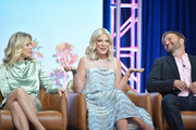 Jennie Garth, Tori Spelling and Chris Alberghini of BH 90210 speak during the Fox segment of the 2019 Summer TCA Press Tour at The Beverly Hilton Hotel on August 7, 2019 in Beverly Hills, California.